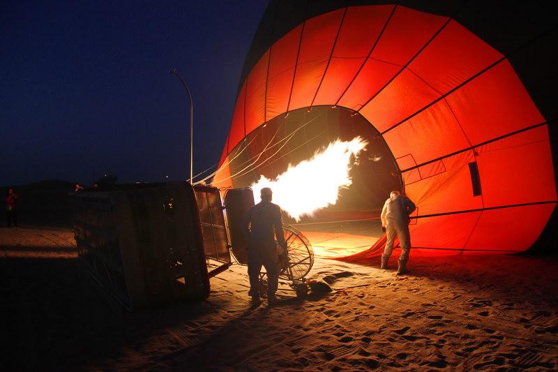 Inflando o balão.