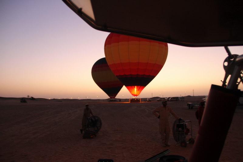 Balões preparados para a subida.