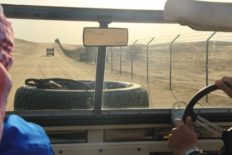 Dirigindo uma Land Rover 1950 no deserto