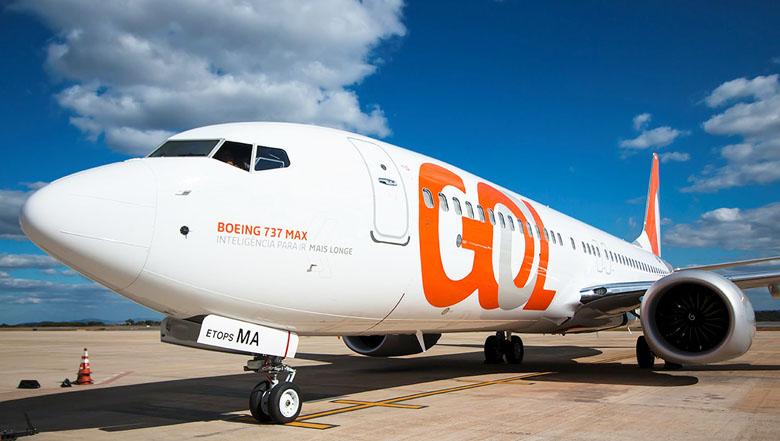 O Boeing 737 MAX 8 da GOL Linhas Aéreas que faz os voos para os EUA.