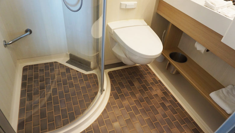 O banheiro da cabine.