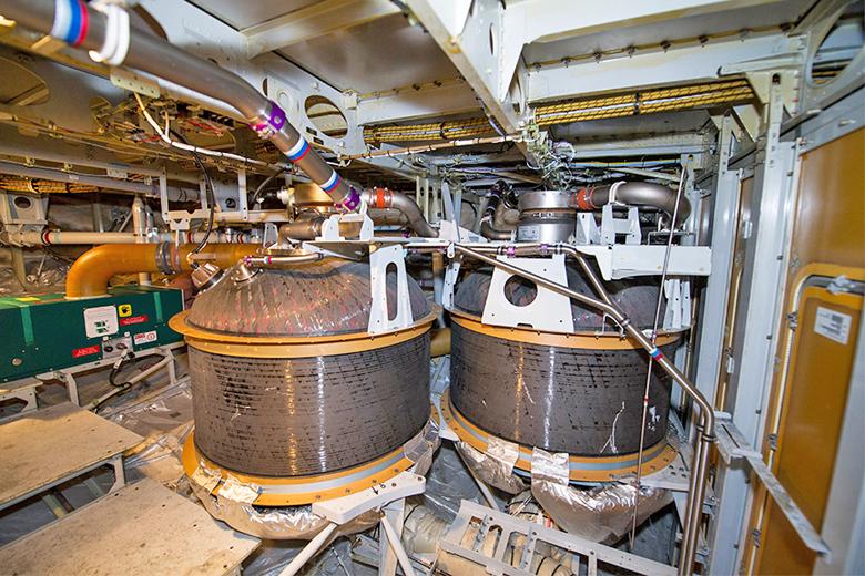 Os três tanques do Boeing 777 que armazenam.