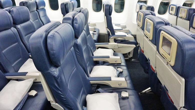 Classe Econômica no Boeing 767-400ER da Delta Air Lines.