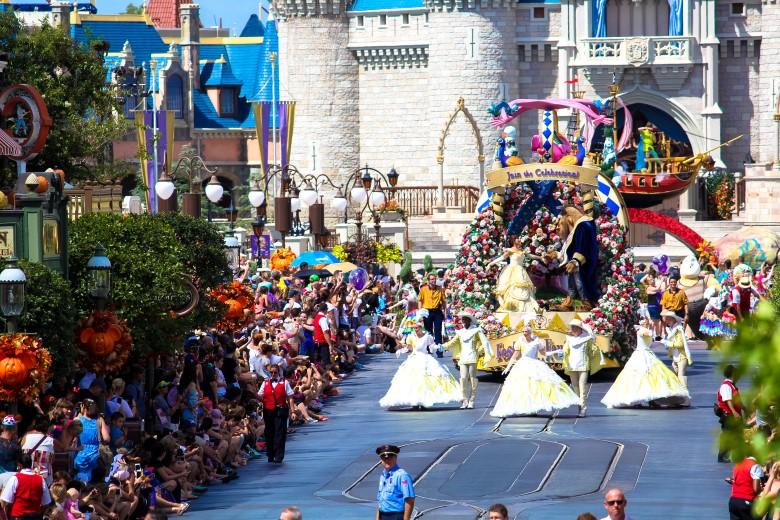 A magia dos parques da Disney.
