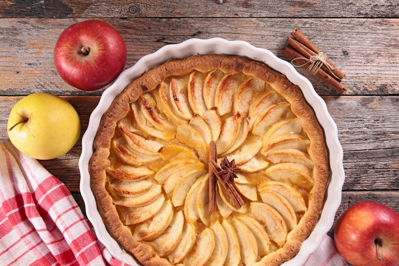 A torta de maçã do Les Delices é bem tradicional.