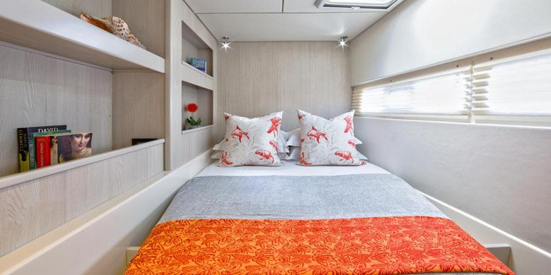 As cabines são pequenas, mas confortáveis.