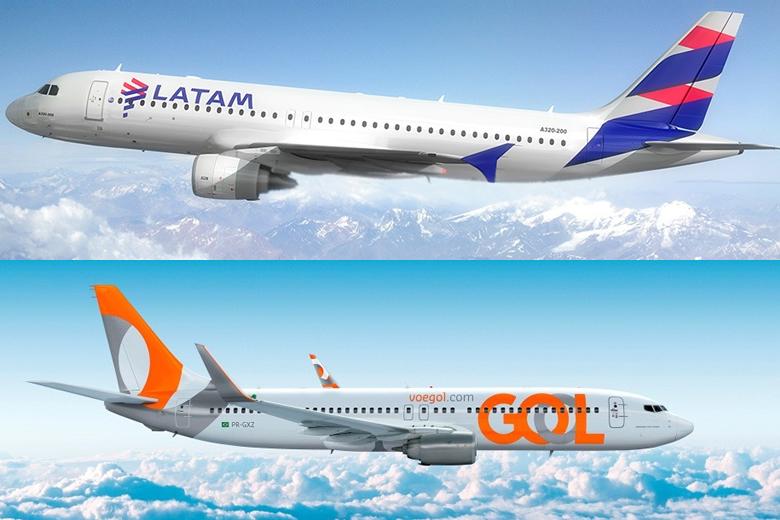 GOL e LATAM são as maiores companhias aéreas nacionais.