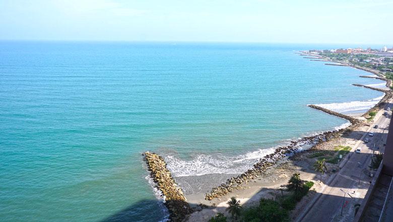 O Caribe colombiano visto do Hyatt Regency Cartagena.