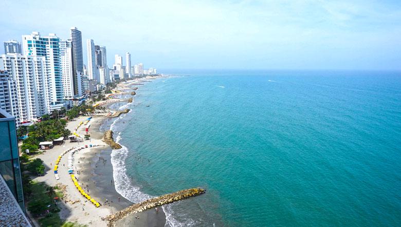 A imensidão da vista do hotel para o mar caribenho de Cartagena.