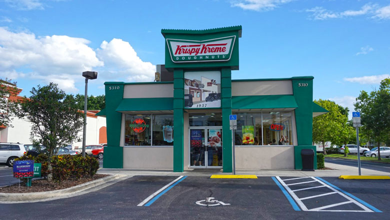 As unidades do Krispy Kreme são fofas.