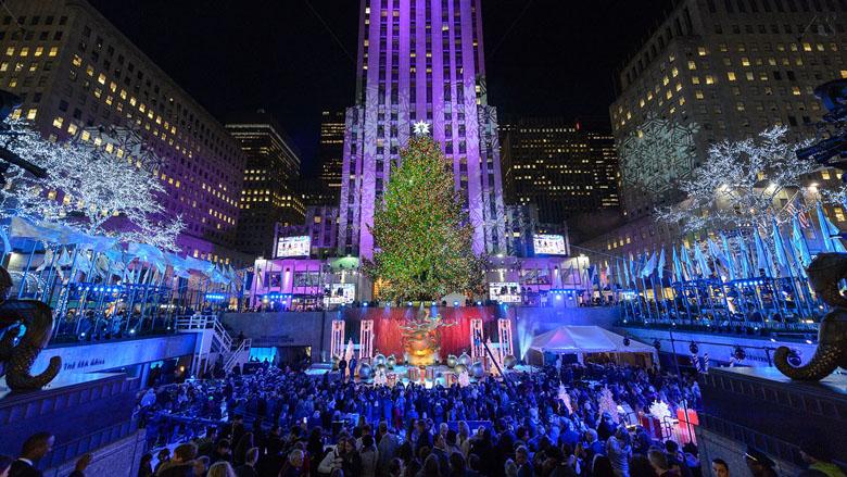 A festa de inauguração da árvore do Rockefeller Center.