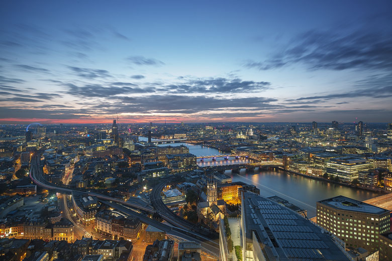 Linda vista do hotel Shangri-La at The Shard em Londres.
