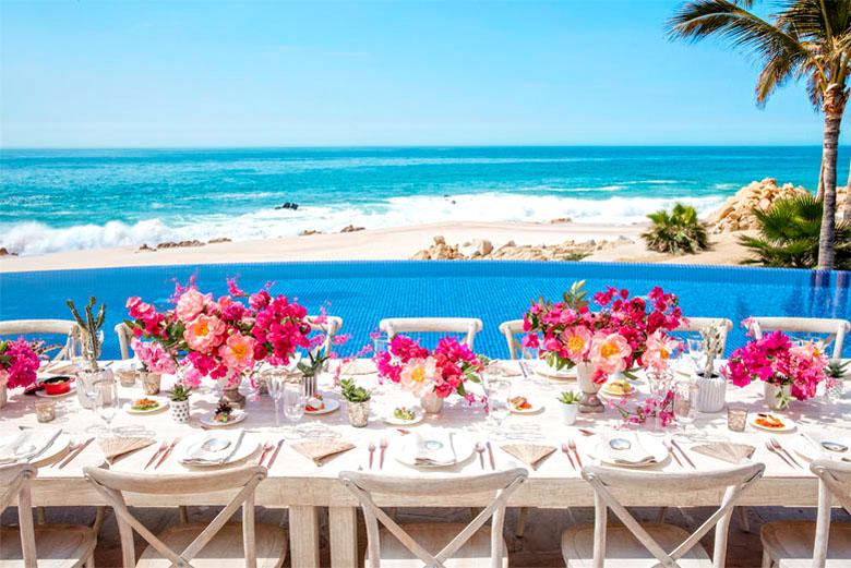 A paradisíaca paisagem no restaurante de um dos melhores hotéis de Los Cabos.