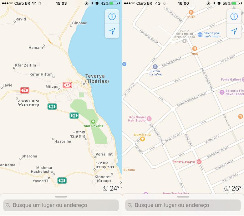Telas do Apple Maps, onde aparecem nomes de cidades e ruas escritos em caracteres latinos e hebraicos.