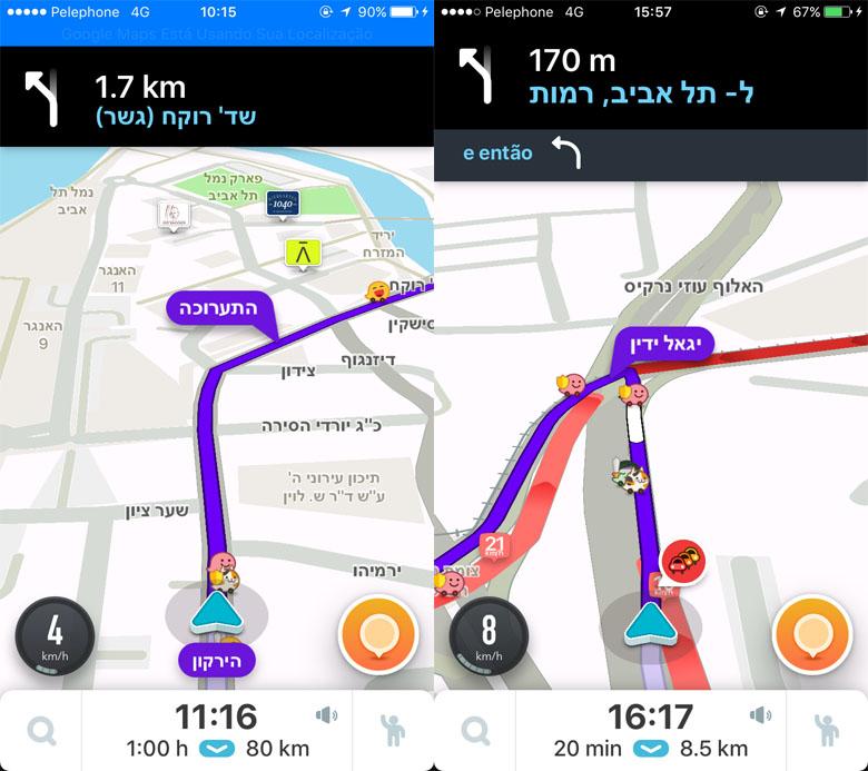 Telas de navegação do Waze, com tudo escrito em hebraico.