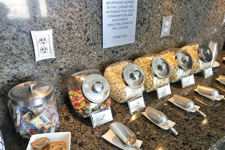 Opções de alimentação da sala VIP.