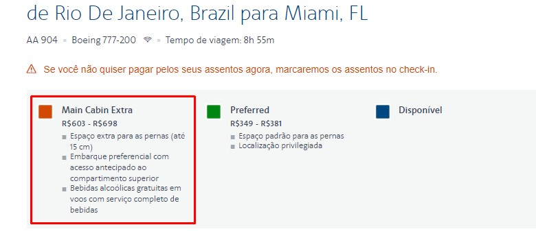 Valores informados no website da American Airlines.