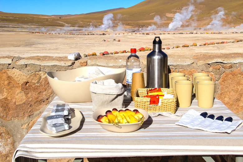 Lanche do explora no Geiser del Tatio.