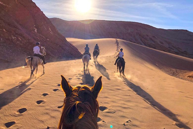 Cavalgada pelas dunas do deserto.