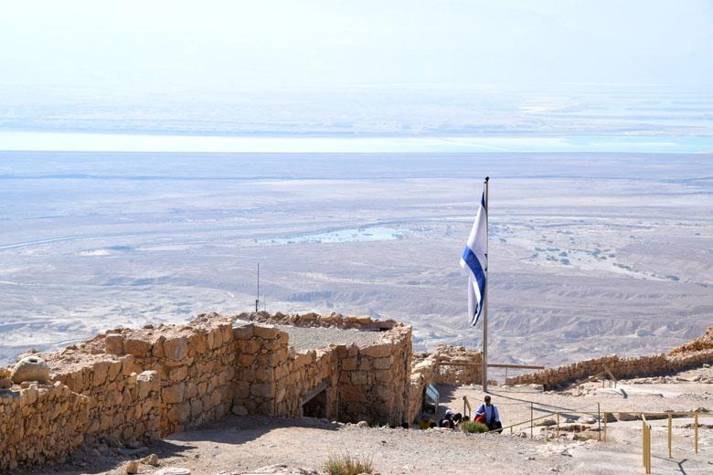 Vista do alto de Masada: Deserto da Judéia, Mar Morto e Jordânia